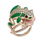 joyliveCY Classic Fashion Animal chapado en oro rosa anillo verde rana verde anillo tamaño Q
