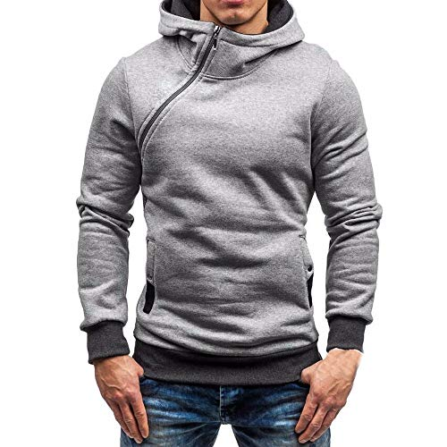 Riou Herren Langarm Hoodie Sweatshirt Slim fit Sweatjacke Kapuzenpullover Pullover T-Shirt Baumwoll Outwear Männer Herbst Winter Langarm Zipper Hooded Sweatshirt Tops (M, Grau)