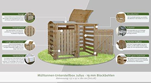 Mülltonnen-Unterstellbox Julius – H137xL97xB180 - 3