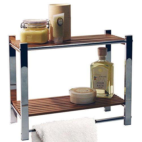 Watsons bamboo - mensola per il bagno/portasalviette - argento/naturale