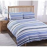 Geo líneas rayas azul impresión de rayas juego de funda nórdica funda nórdica de funda de almohada Ropa de cama 3tamaños, 50% algodón/50% poliéster, azul, king size