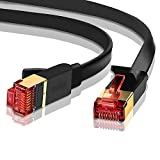 Ethernet Gigabit LAN Netzwerkkabel (RJ45) Advanced Cat 7 |gold connectors| 10 Gbps 600 MHz |10/100/1000Mbit/s | Patchkabel | STP | kompatibel mit Cat. 5/CAT. 5e/CAT. 6 | Switch/Router/Modem/Patch Panel/Access Point/Patchfelder | 10 m Ibra flach schwarz (2 Pack)