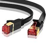 Ethernet Gigabit LAN Netzwerkkabel (RJ45) Advanced Cat 7|gold connectors| 10Gbps 600MHz |10/100/1000Mbit/s | Patchkabel | STP | kompatibel mit Cat. 5/CAT. 5e/CAT. 6| Switch/Router/Modem/Patch Panel/Access Point/Patchfelder | 5m Ibra flach schwarz (2Pack)