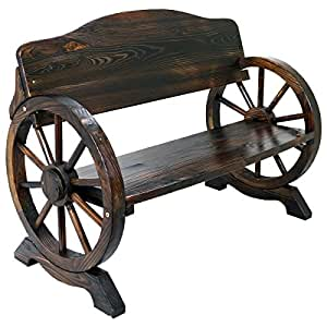 Solid Wood Cart Wagon Wheel Garden Bench Patio Burnt