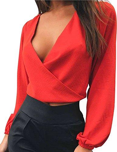 Quceyu Damen Crop Top Bluse V-Ausschnitt Rückenfrei Abendmode Oberteil Party Shirt (Rot, S)