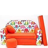 F9 Minicouch Kindersofa Baby Sofa Set Sitzkissen Matratze (F9 orange Elefanten)