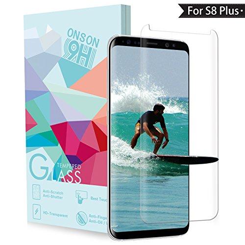 ONSON Galaxy S8 Plus Screen Protector, Akaho® Tempered Glass Screen Protector for Samsung Galaxy S8 Plus, 9H Hardness, Bubble Free, Anti-Fingerprint HD Screen Protector Film