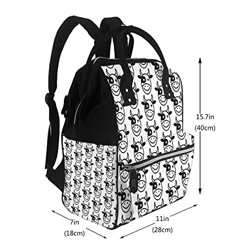 Diaper Backpack Bags Pattern Background Cow Face Emotion Icon Large Capacity Mut