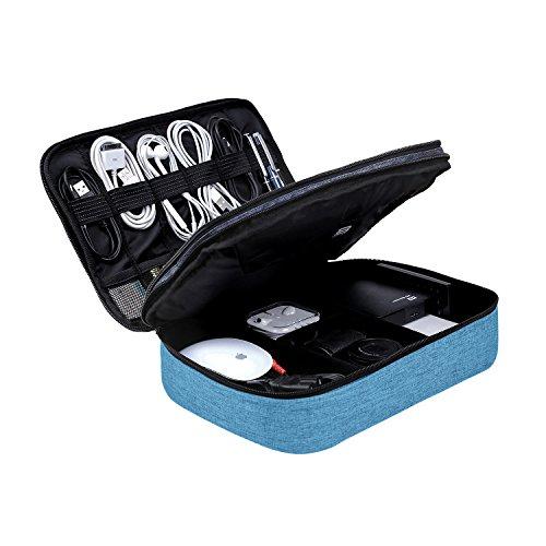 BAGSMART Elektronische Tasche, Doppelte Schichte Elektronik Organizer Reise für Kabel, Ladegerät, iPad, iPad Air, Tablet bis zu 10.5 Zoll, Adapter, Maus, SD Karten (Seeblau) (Flash-karten 1. Der Klasse)