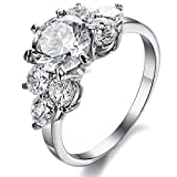 AnazoZ Damen Ringe Edelstahl 7 Zirkonia Strass Silber Ringe Ringgröße 60 (19.1) Modeschmuck