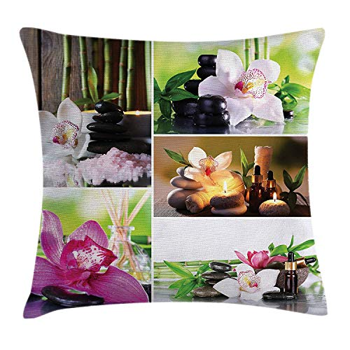 Spa Throw Pillow Cushion Cover, Spa Day Collage with Orchids Stone Pebbles Natural Herbal Oils Body and Mind Treatment, Decorative Square Accent Pillow Case, 18 X 18 inches, Multicolor - Body Contour Spa