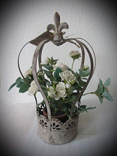 Krone, Deko Krone, 21,5x20x35 cm,Metallkrone zum Bepflanzen, dekorative Pflanzschale