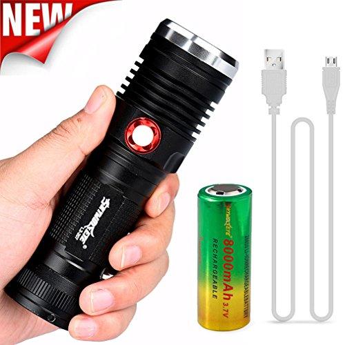 TopTen Fan-Motive Tactical Taschenlampe, 5000Lumen 3Modi einstellbarer Fokus Camping LEDs Licht Taschenlampe mit Akku für Angeln Jagd Wandern und Outdoor Aktivitäten