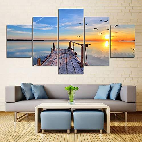 Sea Wood Bridge tramonto paesaggio pittura, arte moderna paesaggio, 5 pannelli, pittura tela Wall Artist Residence decorazione della parete decorazione,8 * 12 * 2+8 * 16 * 2+8 * 20in