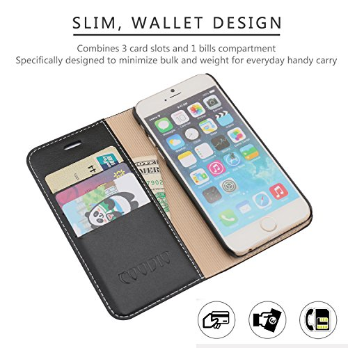 Etui iPhone 7, Coodio Housse en Cuir Véritable, Portefeuille iPhone 7, Folio Coque de Protection avec emplacement de cartes, Option Stand Pour iPhone 7 Portefeuille Folio