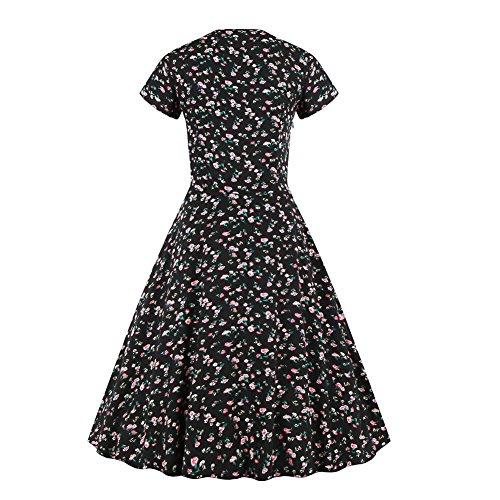 E-Girl EM125618D Vintage pin-up 50's robe de soirée,bal cocktail Rockabilly Swing,S-XXXXL Noir