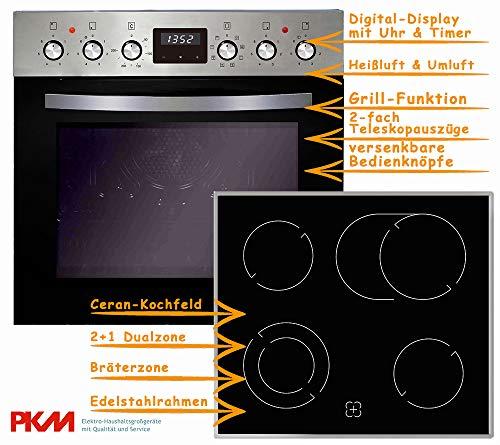 PKM Einbauherd Set Backofen Ceran Kochfeld mit Edelstahlrahmen Herd Set | Bräterzone | Teleskopauszüge | Timer | 2+1 Dualzone | Edelstahlrahmen | Heißluft | Umluft | Grill
