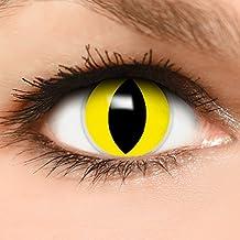 """FUNZERA® Lentillas de Colores """"Yellow Cat"""" + 10 ml solución + recipiente para lentes de contacto, sin dioptrías pack de 2 unidades - cómodas y perfectas para Halloween, Carnaval, sin corregir"""