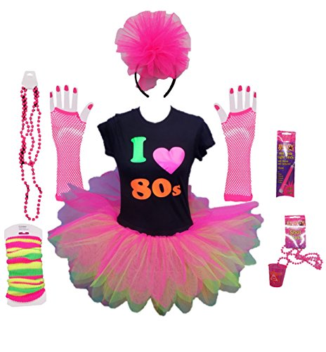 Complete I Love the 80s Ladies Costume with colourful, layered tutu skirt and accessories - three sizes