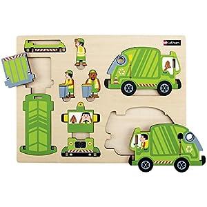 Nathan nathan330139Cubo de la Basura camión de Madera con Puzzle (10-Piece)
