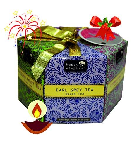 Happy Elephant 48 Tea Bag Hexagon with Exotic Flavours Collection 1 - Mango, Pomegranate, Masala Chai Tea, Passion Fruit, Earl Grey, Stimulating Tea