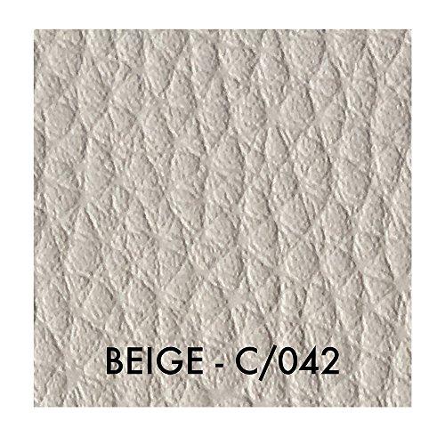 Tessuto ecopelle morbida finta pelle a metraggio a partire da 50 cm (lunghezza) x 140 cm (larghezza fissa) - per arredo divani, sedie (1/2 metro, beige)