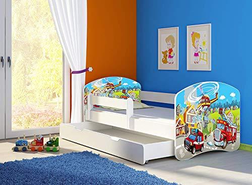 Clamaro \'Fantasia Weiß\' 160 x 80 Kinderbett Set inkl. Matratze, Lattenrost und mit Bettkasten Schublade, mit verstellbarem Rausfallschutz und Kantenschutzleisten, Design: 37 Feuerwehr