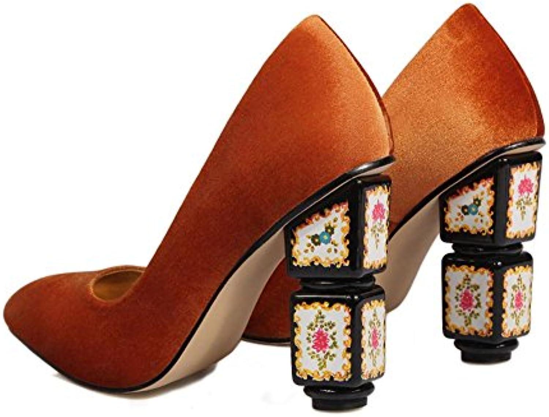 Femmes Pompes Caleçon Chunky Sur Tribunal Chaussures Suède Chunky Caleçon Haute Talon Pointu Doigt de pied rouge TravailB07BCHKD77Parent 4df366
