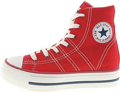 Maxstar  C7-5cm, Chaussons montants femme Rouge - rouge