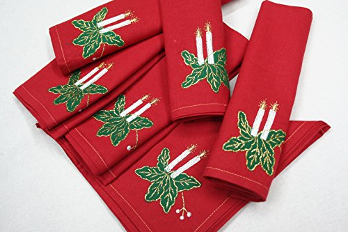 Raghuraj Lifestyle Red Table Napkins (100 %Cotton) Perfect for Dining Table (Set of 6 Pcs) 40*40 cm 16*16 inches