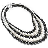 Fashion Black White Pearl Chain Beads Style Pretty Pendant Necklace