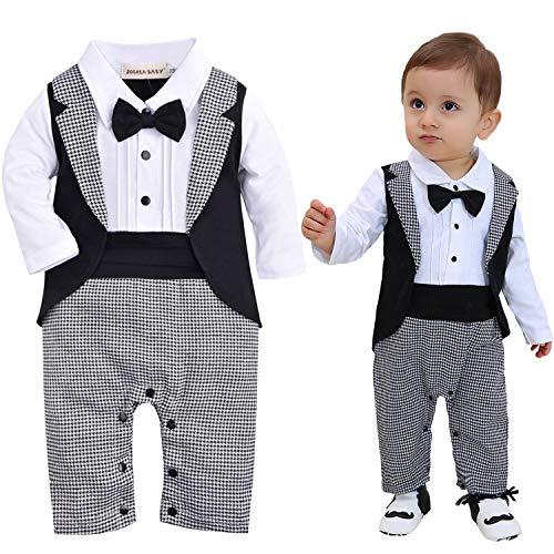 Zoerea un Parti dei Neonati Pagliaccetto Tuxedo Outfit Che Coprono Insieme con Il Bowknot per Nozze Battesimo Compleanno
