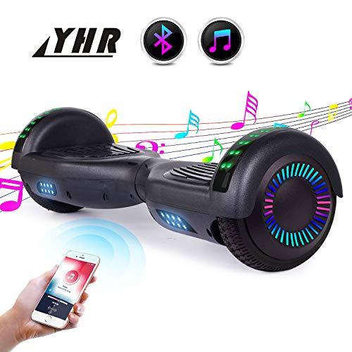 """YHR 6,5\""""Hoverboard für Kinder und Erwachsene mit integriertem Bluetooth-Lautsprecher, 2 LED-Rädern Smart-Scooter mit Selbstausgleich, Swegway-Skateboard mit Tragetasche (UL-Zertifiziert, Schwarz)"""