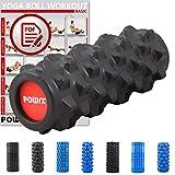 RULLO PER MASSAGGI incluso Workout Foam Roller Rullo per Pilates rullo in gommapiuma Yoga ruolo Balance ruolo stesso Mass Age ruolo di allenamento fasciale von POWRX ca. 33cm, Schwarz - Spikes