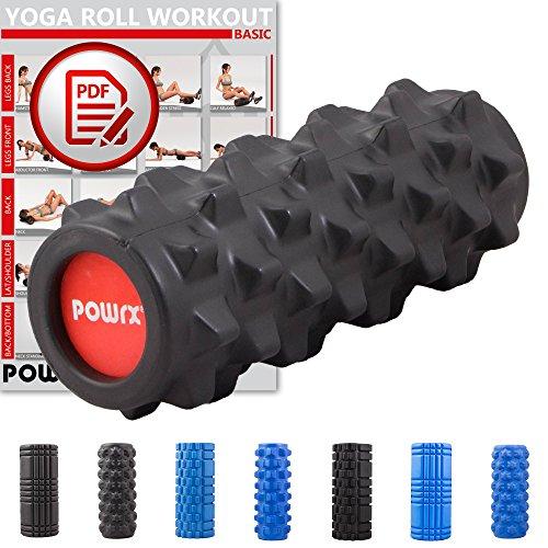 POWRX Faszienrolle Foamroller Massagerolle Pilatesrolle Schaumstoffrolle (Schwarz - Spikes) -