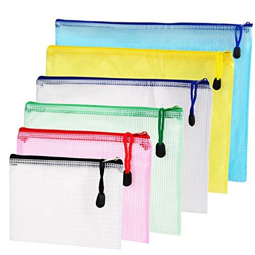 6 Stück 6 Größe Reißverschluss Datei Taschen Mesh Dokumententasche File Pouch Storage Zipper Taschen für Kosmetik Büros Supplies Reisezubehör, 6 Farben