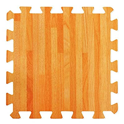 Wood Effect Interlocking Foam Mats - Perfect for Floor Protection, Garage, Exercise, Yoga, Playroom. Eva foam (9 tiles, Natural Wood Brown) - cheap UK light store.