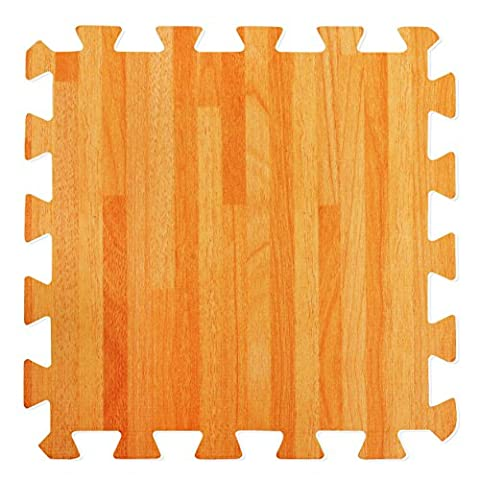 Wood Effect Interlocking Foam Mats - Perfect for Floor Protection, Garage, Exercise, Yoga, Playroom. Eva foam (9 tiles, Natural Wood