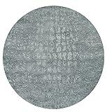 mynes Home waschbarer Teppich für Bad Flur und Küche mit Kelim Kilim Oberfläche sehr pflegeleicht mit rutschfestem Latexrücken hochwertig Rund (Rund 120cm x 120cm)