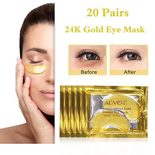 20 pares 24K oro colágeno antiedad Ácido hialurónico