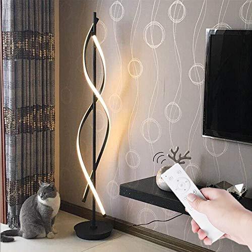 Stehleuchte LED mit Fernbedienung Schwarz - ELINKUME Spiral Modellierung Dimmbar Modernes Kreativ Design Indoor Stehleuchte Raumbeleuchtung Bequeme Energieeinsparung AC 220V -