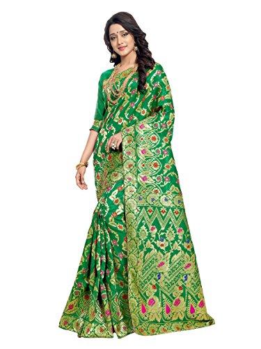 Vatsla Enterprise Women's Cotton Silk Banarasi Saree (APEXJALL_GREEN_Colour)