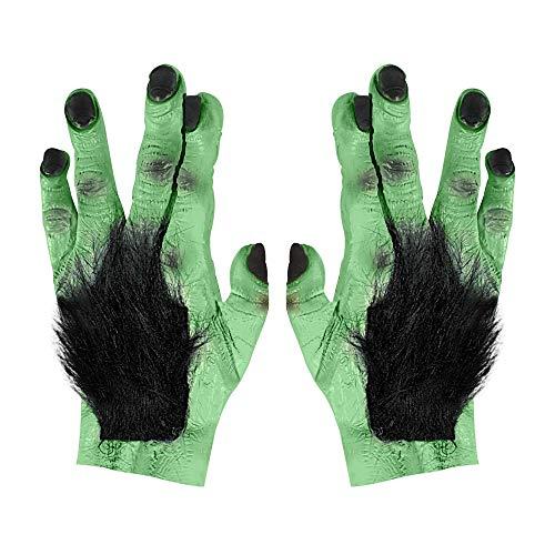 WIDMANN?Par de manos gigantes pelose Frankie para adultos, color verde, talla única, vd-wdm2710X