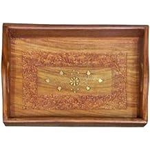 Bandeja madera vajilla tallas incrustaciones de latón artesanía 30 ...