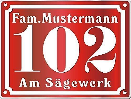 Preisvergleich Produktbild Hausnummerschild Edelstahl mit eigenem Text Farbe Edelstahl Rot m.Bohrung