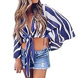 Rosennie Mode Damen Frauen Streifen T Shirt Top Lange Hülsen Blusen Oberseiten Kleidung T-Shirt Tops Pullover V Ausschnitt Gestreift Lang Ärmel Tank Top Loose Sommer Blusen Shirt(Blau A,L)