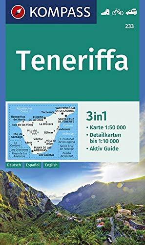 KOMPASS Wanderkarte Teneriffa: 3in1 Wanderkarte 1:50000 mit Aktiv Guide und Detailkarten. Fahrradfahren. Autokarte. (KOMPASS-Wanderkarten, Band 233)