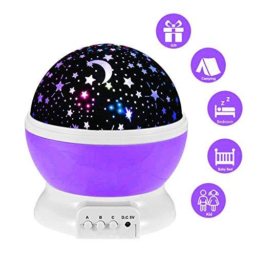 lederTEK, LED Baby Nachtlicht mit USB Kabel Batteriebetrieben Sternhimmel Sternenhimmel 4 LED 360 Grad ( Lila) (Mädchen Kleinkind Decken Erhalten)