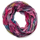 styleBREAKER Feder Muster Batik Style Loop Schlauchschal / Crash and Crinkle / seidig leicht 01016064, V5, Farbe:Pink