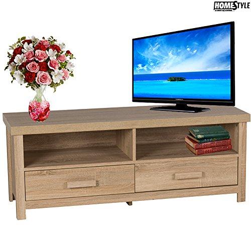 Bakaji mobile porta tv con 2 ripiani + 2 cassetti mdf 120x39x46cm soggiorno homestyle